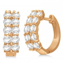 Double Row Diamond Huggie Earrings 14k Rose Gold (2.00ct)