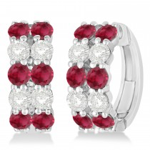 Double Row Ruby & Diamond Huggie Earrings 14k White Gold (2.60ct)