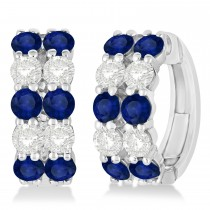 Double Row Sapphire & Diamond Huggie Earrings 14k White Gold (2.60ct)