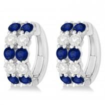 Double Row Sapphire & Diamond Huggie Earrings 14k White Gold (2.60ct)
