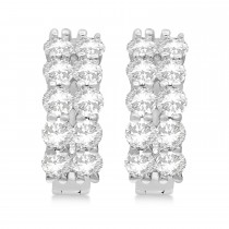 Double Row Diamond Huggie Earrings 14k White Gold (2.00ct)