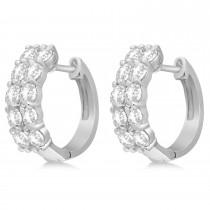Double Row Diamond Huggie Earrings 14k White Gold (2.00ct)