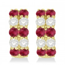 Double Row Ruby & Diamond Huggie Earrings 14k Yellow Gold (2.60ct)