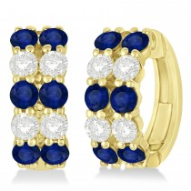 Double Row Sapphire & Diamond Huggie Earrings 14k Yellow Gold (2.60ct)