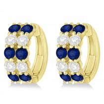 Double Row Sapphire & Diamond Huggie Earrings 14k Yellow Gold (2.60ct)