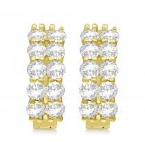 Double Row Diamond Huggie Earrings 14k Yellow Gold (2.00ct)