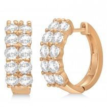 Double Row Diamond Huggie Earrings 14k Rose Gold (3.08ct)