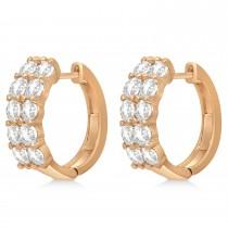 Double Row Diamond Huggie Earrings 14k Rose Gold (3.08ct)