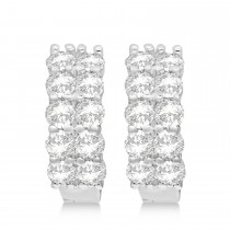 Double Row Diamond Huggie Earrings 14k White Gold (3.08ct)