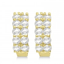 Double Row Diamond Huggie Earrings 14k Yellow Gold (3.08ct)