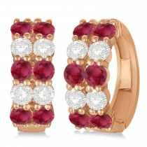 Double Row Ruby & Diamond Hoop Earrings 14k Rose Gold (4.28ct)
