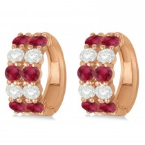 Double Row Ruby & Diamond Hoop Earrings 14k Rose Gold (4.28ct)