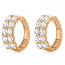 Double Row Diamond Hoop Earrings 14k Rose Gold (4.00ct)