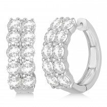 Double Row Diamond Hoop Earrings 14k White Gold (4.00ct)