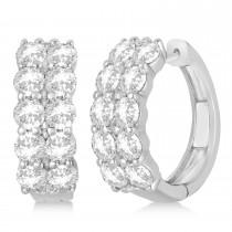 2 Row Diamond Hoop Earrings 14k White Gold (4.00ct)