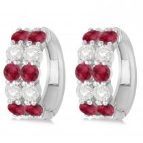 Double Row Ruby & Diamond Hoop Earrings 14k White Gold (4.28ct)