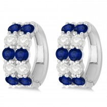 Double Row Sapphire & Diamond Hoop Earrings 14k White Gold (4.28ct)