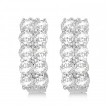 Double Row Diamond Hoop Earrings 14k White Gold (4.00ct)|escape