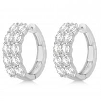 Double Row Diamond Hoop Earrings 14k White Gold (4.00ct)