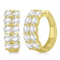 Double Row Diamond Hoop Earrings 14k Yellow Gold (4.00ct)
