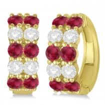 Double Row Ruby & Diamond Hoop Earrings 14k Yellow Gold (4.28ct)