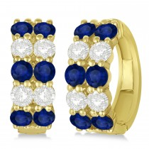 Double Row Sapphire & Diamond Hoop Earrings 14k Yellow Gold (4.28ct)