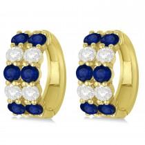 Double Row Sapphire & Diamond Hoop Earrings 14k Yellow Gold (4.28ct)