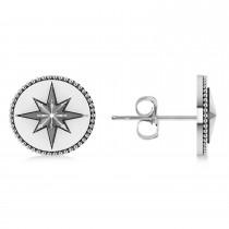 Compass Push Backs Stud Earrings 14k White Gold