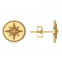 Navigational Compass Star Earrings 14k Yellow Gold