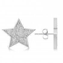 Galaxy Star Diamond Accent Hammered Stud Earrings 14k White Gold