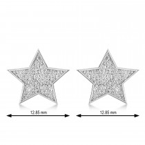 Galaxy Star Textured Diamond Illusion Stud Earrings 14k White Gold
