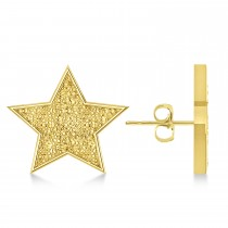 Galaxy Star Textured Diamond Illusion Stud Earrings 14k Yellow Gold