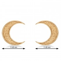Galaxy Moon Textured Diamond Illusion Stud Earrings 14k Rose Gold