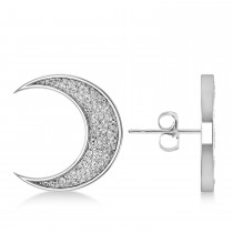 Galaxy Moon Hammered Stud Earrings 14k White Gold