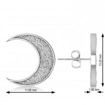 Galaxy Moon Textured Diamond Illusion Stud Earrings 14k White Gold