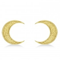 Galaxy Moon Textured Diamond Illusion Stud Earrings 14k Yellow Gold