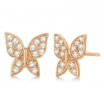Diamond Butterfly Stud Earrings 14k Rose Gold (0.30ct)