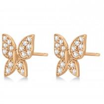 Diamond Butterfly Stud Earrings 14k Rose Gold (0.30ct)