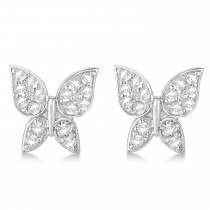 Diamond Butterfly Stud Earrings 14k White Gold (0.30ct)