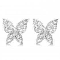 Diamond Butterfly Stud Earrings 14k White Gold (0.30ct)|escape