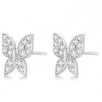 Diamond Butterfly Stud Earrings 14k White Gold (0.30ct)