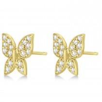 Diamond Butterfly Stud Earrings 14k Yellow Gold (0.30ct)