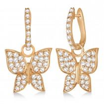 Diamond Butterfly Drop Earrings 14k Rose Gold (1.26ct)