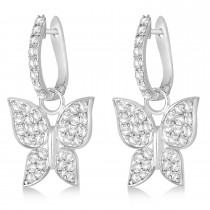 Diamond Butterfly Drop Earrings 14k White Gold (1.26ct)