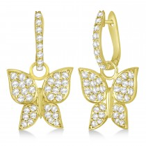 Diamond Butterfly Drop Earrings 14k Yellow Gold (1.26ct)