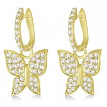 Diamond Butterfly Drop Earrings 14k Yellow Gold (1.26ct)