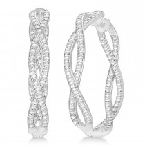 Double Helix Diamond Hoop Earrings 14k White Gold (1.75ct)