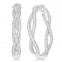 Double Helix Diamond Hoop Earrings 14k White Gold (1.75ct)