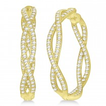 Double Helix Diamond Hoop Earrings 14k Yellow Gold (1.75ct)