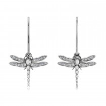 Dragonfly Insect Diamond Dangle Earrings 14k White Gold (0.36ct)